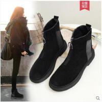 短靴女冬季新款韩版厚底机车靴复古休闲加绒前拉链马丁靴女鞋