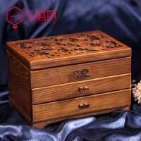 木质首饰盒木制珠宝盒饰品盒手饰品项链收纳盒中式欧式复古