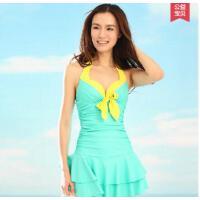 时尚优雅大方连体裙式分体平角小胸聚拢钢托大胸保守显瘦温泉泳衣女