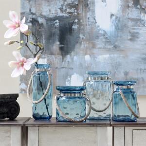 【每满100减50】幸阁 插花现代蓝色圆点麻绳玻璃花瓶 手工花插多规格