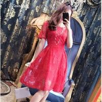 大码女装2018春装新款胖mm夏季蕾丝红色短袖连衣裙胖妹妹韩版显瘦