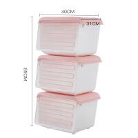 斜口收纳箱塑料透明厨房储物箱侧开门儿童玩具零食衣物整理箱 粉色( 3个装) 40*31*30cm