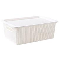 仿藤编有盖收纳箱衣服衣物整理箱 家用塑料大号玩具收纳盒储物盒
