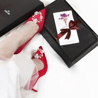 高跟鞋红色婚鞋女2018新款秀禾新娘鞋百搭缎面水晶婚礼细跟结婚鞋