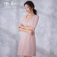 【满200-100上不封顶 仅限5.17-5.20】尔叙 2018春夏新款女装蕾丝拼接修身显瘦纯色连衣裙 苹末