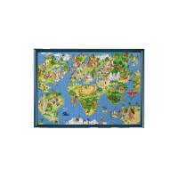 趣味卡通版世界地图木质300/500/1000/1500片拼图成人儿童玩具