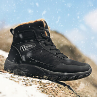 雪地靴男短靴棉鞋男冬季保暖加绒厚棉靴男鞋防水防滑真皮男靴