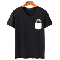 夏季1新款青少年男士V�I卡通男式短袖t恤�棉半袖�n版潮流上衣