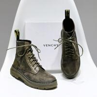 欧美磨砂系带秋冬平底马丁短靴平跟复古英伦风裸靴切尔西靴女鞋