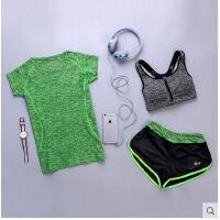 女显瘦速干运动背心健身房跑步短裤上衣文胸三件套瑜伽服套装