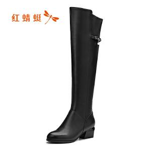 红蜻蜓女鞋2017冬季新款简约舒适中跟长靴女圆头粗跟女靴子高筒靴
