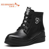红蜻蜓女靴厚底简约休闲女士短靴高帮鞋