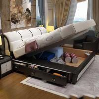 皮床现代简约床1.8米双人床欧式1.5m大气婚床储物抽屉卧室床 +9区乳胶床垫