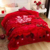 婚庆毛毯大红色结婚用毛毯喜被陪嫁*10斤双人被子冬季加厚毯子