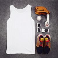 夏季背心男无袖打底沙滩修身型个性紧身学生卡通潮牌韩版男士汗衫 白色 白色纯色