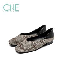 【顺丰包邮,大牌价:238】CNE2019春夏款帆布鞋女日系方头格子布低跟奶奶鞋女单鞋9T21002