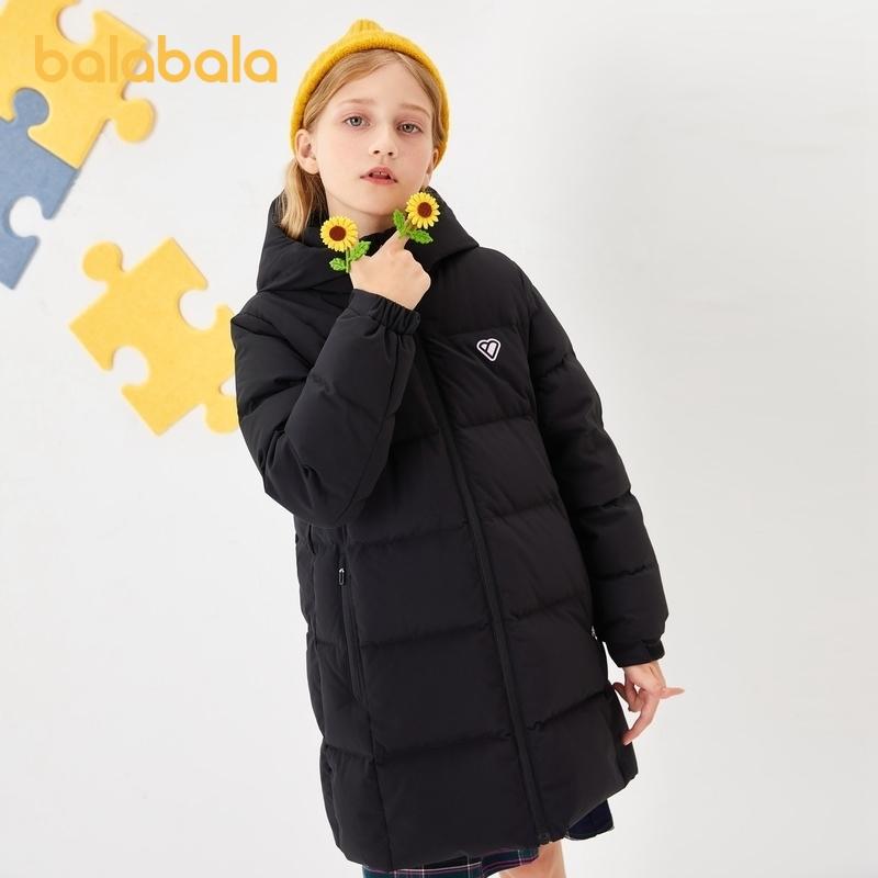 【开学季 折后叠券预估价:251.7】巴拉巴拉女童中长款羽绒服儿童秋冬大童外套收腰合体时尚