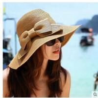 女士防晒帽海边 韩版草帽折叠遮 阳帽太阳帽 大沿帽沙滩帽
