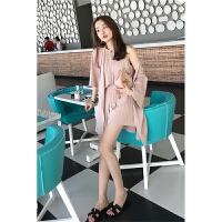 春夏新款韩版压褶吊带背心宽松松紧短裤冰丝针织开衫外套时尚三件套套装女 粉红色 均码