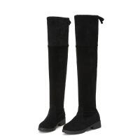 2018秋冬新款欧美百搭粗跟显瘦过膝长靴女绒面低跟长筒靴子