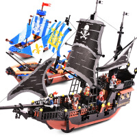 黑珍珠号海盗船积木益智力拼装6儿童玩具7模型8-10岁男孩