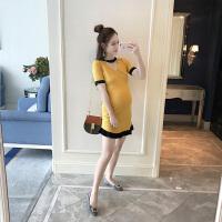 2018新款春装韩版时尚孕妇装夏装连衣裙潮妈小香风显瘦孕妇针织裙 均码