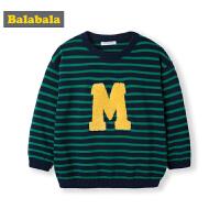 巴拉巴拉宝宝线衣儿童编织毛衣男童2019新款秋装针织衫纯棉条纹衫