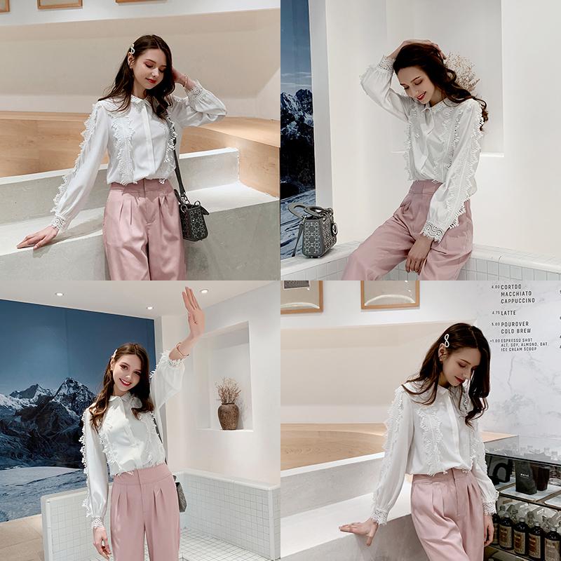 毛菇小象白色衬衫女长袖蕾丝拼接钩花宽松心机上衣设计感小众衬衣