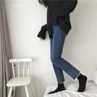 韩国拼色牛仔裤女紧身显瘦弹力小脚裤高腰百搭水洗九分裤 深蓝色 S