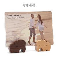 七寸相框横摆台实木创意照片框洗加木质个性画框 对象相框-榉木+胡桃木 7寸