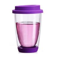 20191213142855991350ml绚丽杯情侣杯双层耐热手工艺玻璃杯彩色带硅胶盖底垫茶杯玻璃牛奶杯水杯子紫色
