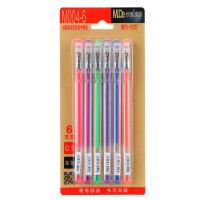 妙德 多彩荧光中性笔(6色6支入)M004-6彩色中性笔彩色水笔学生彩笔炫彩色荧光笔多彩文具清新可爱学生奖品笔 当当自