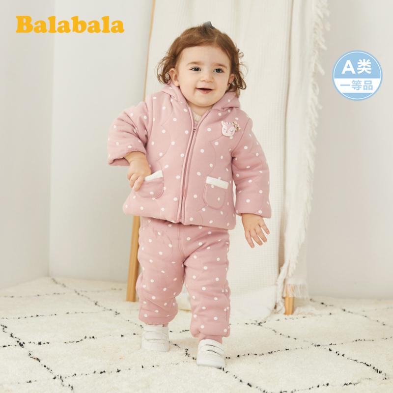 巴拉巴拉女童秋冬套装儿童2019新款婴儿衣服两件套加绒保暖外套厚 Q版小鹿,立体造型