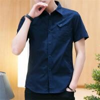 夏季男士短袖衬衫男衬衣服韩版潮流修身帅气休闲薄款寸衫男装