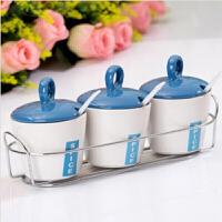 红兔子南韩调味瓶蓝色调味瓶四件套 调味罐套装 陶瓷调味瓶