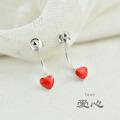 新款心形耳环女甜美红色爱心后挂式耳坠925纯银耳钉女韩国个性简约Y/D 711H0149