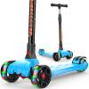 炫梦奇儿童滑板车3-6岁-12岁四轮小孩折叠闪光滑滑车宝宝踏板车 三两轮摇摆滑轮车幼儿脚踏板车 天空蓝