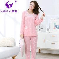 香港康谊秋冬季女士睡衣可爱女人长袖长裤纯棉睡衣全棉家居服套装