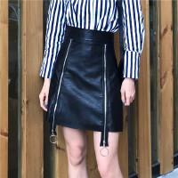 2018夏季复古高腰个性拉链开叉PU皮裙气质百搭A子裙半身短裙女 黑色