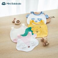 迷你巴拉巴拉婴儿可爱动物造型口水巾2021全棉轻薄柔软透气围兜
