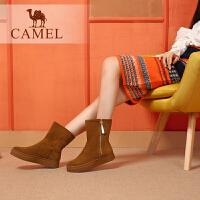 Camel/骆驼女鞋 冬季新品 时尚舒适高筒保暖拉链平跟雪地靴