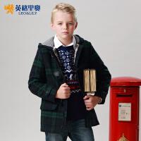 秋冬青少年中大童英格里奥童装男童经典格子休闲呢大衣英伦夹克外套 1501