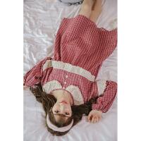 睡衣女秋季纯棉长袖韩版春秋甜美可爱清新公主睡裙学生宽松夏季 红色