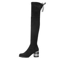 camel骆驼冬季新款 优雅粗跟时尚潮流复古气质长靴女长靴