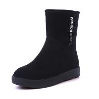 雪地靴女短筒2018韩版新款冬季保暖加绒加厚中筒平底磨砂皮短靴女 黑色