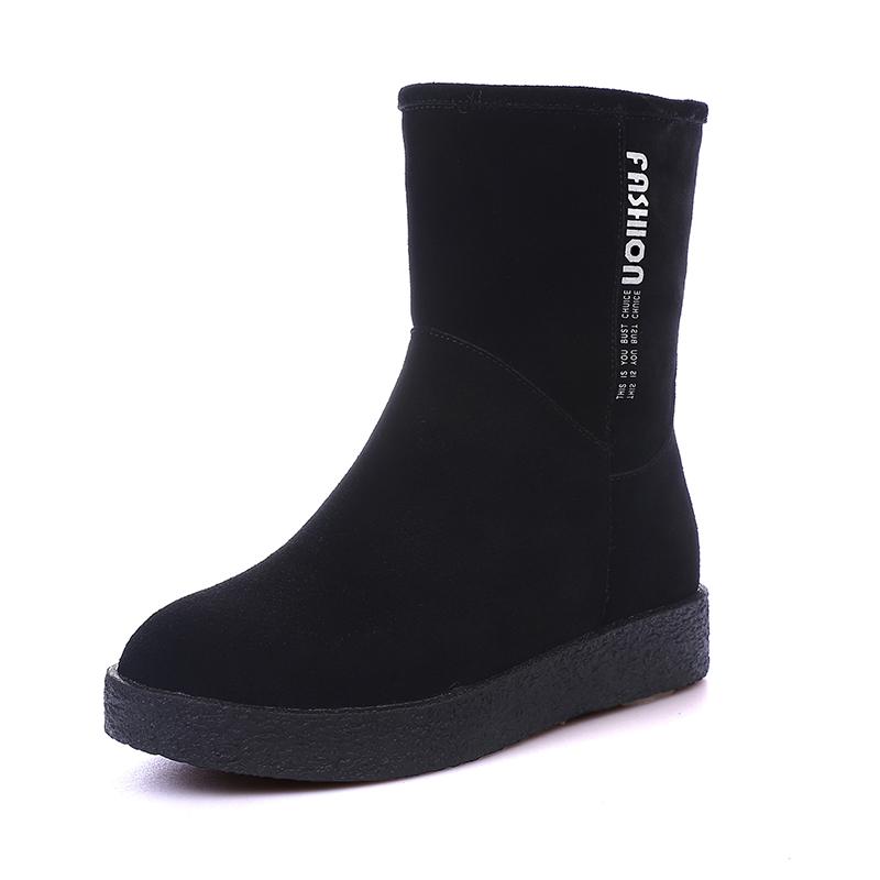 雪地靴女短筒2018韩版新款冬季保暖加绒加厚中筒平底磨砂皮短靴女 黑色  【新款上新,支持七天退换货,欢迎购买】