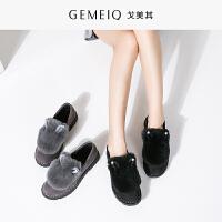 戈美其新款冬季绒毛毛鞋圆头休闲平底棉鞋低等韩版兔子鞋