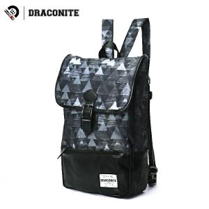 【支持礼品卡支付】DRACONITE潮牌几何图案双肩包男女生时尚搭扣树林翻盖小背包13367