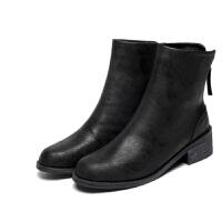 2018秋冬欧美新款粗跟短靴女学生磨砂复古马丁靴女英伦风加绒女鞋