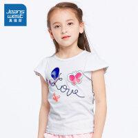 [每满400减150]真维斯女童 2018夏装新款 圆领短袖印花T恤JJ-82-673301